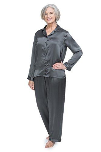 Women's 100% Silk Pajama Set - Luxury Sleepwear Pjs by TexereSilk (Morning Dew, Pewter, Medium) Cute PJs for Her WS0001-PWT-M by TexereSilk