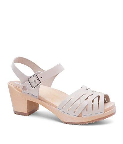 Sandgrens Swedish High Heel Wood Clog Sandals for Women, US 8-8.5 | Madrid Sand, EU 39 by Sandgrens
