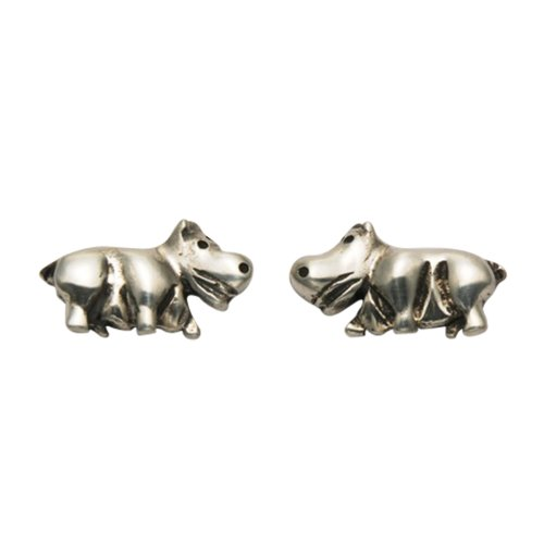 (Sterling Silver Hippo Stud Earrings)