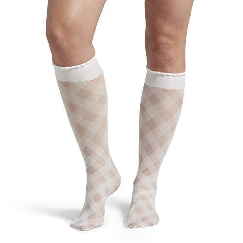 - HUE Women's Fashion Sheer Knee Hi Socks, Assorted, White - Diagonal Gingham, One Size