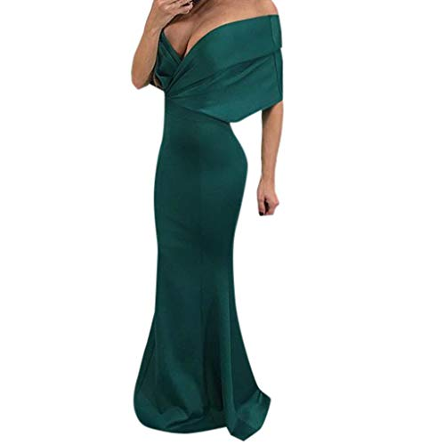 WOCACHI Dresses for Womens, Women's Sexy Solid Deep V-Neck Floor-Length Sheath Trumpet Mermaid Dress Up to 30% 50% Deals Under 5 10 15 Top Brands Tea Dress Loose Slim Green