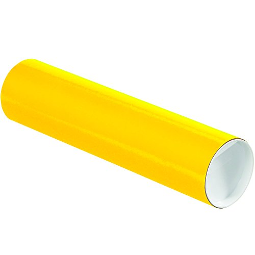 "Aviditi P3012Y Mailing Tubes with Caps, 3"" x 12"", Yellow (Pack of 24)"
