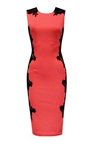 vestido celebridad Bodycon estilo de Lib Coral Naomi de Lace D8981 Ad Side TPx7qU4OTw