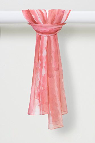Two-Color Light Sprays Pure Silk Chiffon Shawl in Pink by Louis Jane  (''Where Nature Meets Art''TM)
