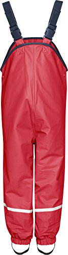 Playshoes Unisex Baby and Kids' Fleece Lined Rain Pants 3-4 Years Red