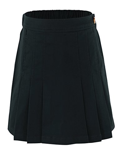 Bienzoe Girl's Cotton Stretchy School Uniforms Pleated Skirt Black Size 14 by Bienzoe