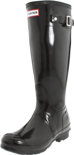 Hunter Women's Original Tall Welly Gloss Rubber Boot,Black,6 UK (US Women's 8 - Boots Ladies Designer Uk