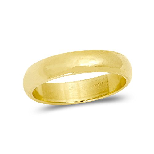 LOVEBLING 10K Yellow Gold Classic Fit Lightweight Solid Wedding Band Ring 4mm (7)
