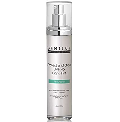 DRMTLGY Anti Aging Tinted Face Moisturizer SPF 45 - Light Tint. All-In-One SPF and Foundation with Broad Spectrum Sunscreen Protection Against UVA and UVB Rays. 1.8 oz