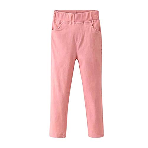 2-6T Toddler Baby Boys Girls Soft Cotton Leggings, Candy Solid Color Stretch Trousers Denim Style Skinny Pants Pockets (Pink, ()