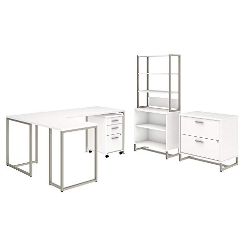 Office by kathy ireland Method 72W L Shaped Desk with 30W Return, File Cabinets and Bookcase in White