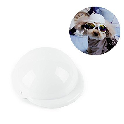 CAZZO Cool Pet Dog Motorcycles Bike Helmet/Sunglasses for Sun Rain Protection,Funny Halloween Cosplay Costume and Christmas Gifts for Cats Dogs (White -