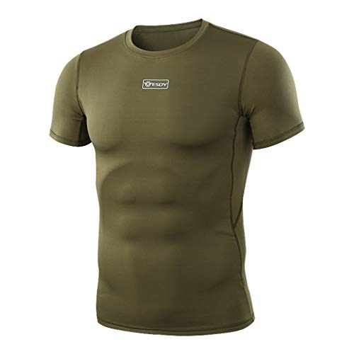 Séchage Rapide Manches Serré Vert shirt T Fitness Blouse Courtes Tops Skin Hommes Amlaiworld Musculation vCpq8nz