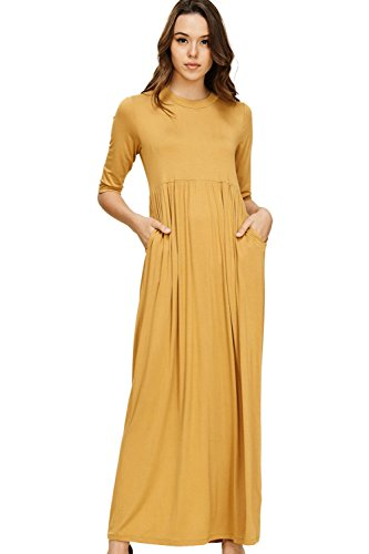 Annabelle Women's Round Neck Full Length Shirring Quarter Sleeve with Slant Pockets Dress Bronze Medium D5185