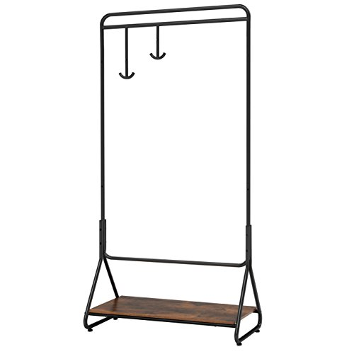 SONGMICS Clothes Garment Rack with Hanging Rail, Heavy Duty Clothing Rack with Wooden Storage Shelf and 2 Adjustable Hooks for Coats, Hats UHSR30BX