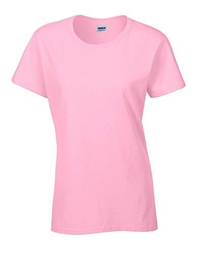 mujer manga 2store24 corta Heavy Camiseta claro para Cotton Cuello redondo rosa q0I0wZ7
