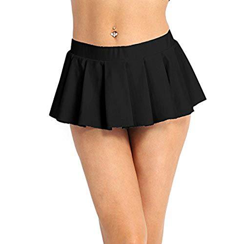 Yeahdor Women Sexy Schoolgirl Lingerie Uniform Skirt Role Play Ruffle Pleated Mini Dresses Black Medium