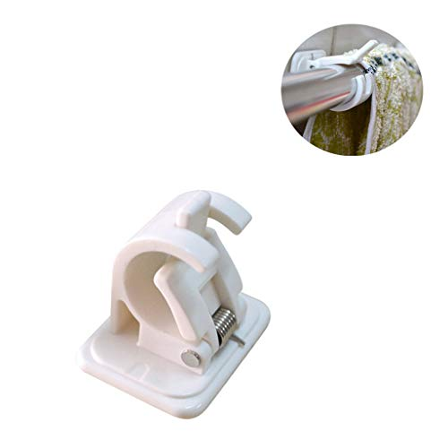 (4PCS Hooks Rod Bracket Self Adhesive Drapery Strong Durable Hook Holders for Hang Towels Curtains - Easy Installation & Removal White)