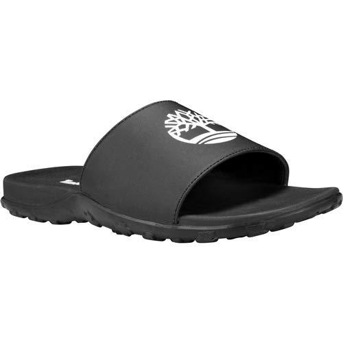 Timberland Men's Fells Sport Slide Sandal, Black with White, 10 Medium US