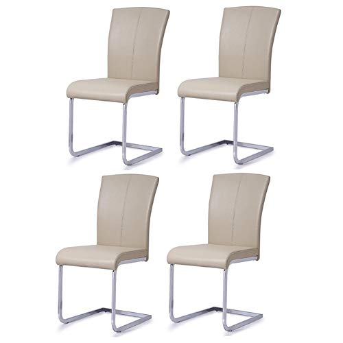 CJC Chairs Luxury Elegant Home Furniture Dining Set of 4 Faux Leather Chrome Steel Legs Modern (Color : Off White)