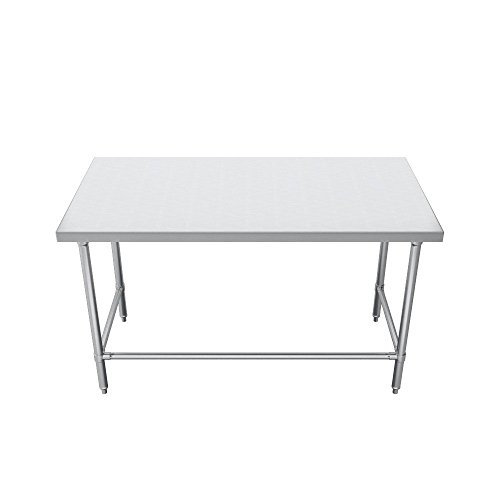 Elkay Foodservice Chef's Choice Work Table, 30''X108'' OA, 36'' Working Height, Flat Top, Cross Brace, Turned Down Table Edge, Stainless Legs With Adjustable 1'' Feet, 16 Gauge 300 Series Stainless Steel, NSF Certified by Elkay Foodservice (Image #1)