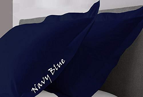 KP Linen Standard Size Navy Blue Pillow Shams Set of 2 - Luxury 400 Thread Count 100% Egyptian Cotton Standard Size Decorative Pillow Cover Standard Pillow Sham (2 Pack, Standard Size 20'' x 26'')