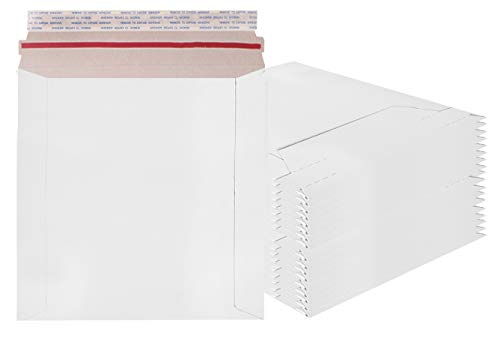 Rigid Mailers 6x6 Paperboard mailers 6 x 6 by Amiff. Pack of 20 white photo mailers. Stay Flat mailers. No bend, Self sealing. Documents chipboard envelopes. Mailing, shipping, packaging, packing.