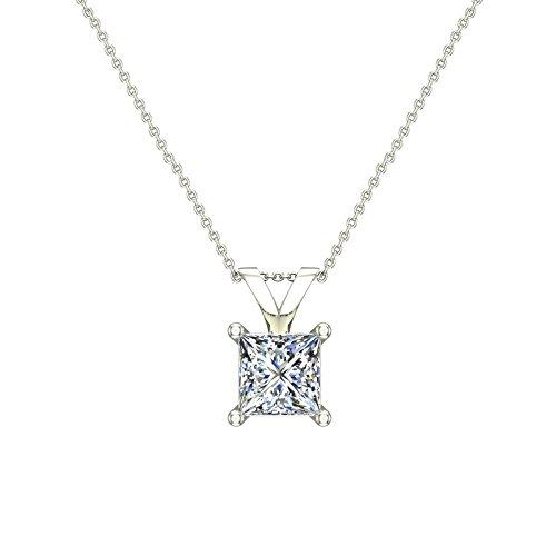 5/8 ct tw I1 G Natural Princess Cut Diamond Solitaire Pendant Necklace 14K White Gold - Princess 14k Natural Diamond Solitaire