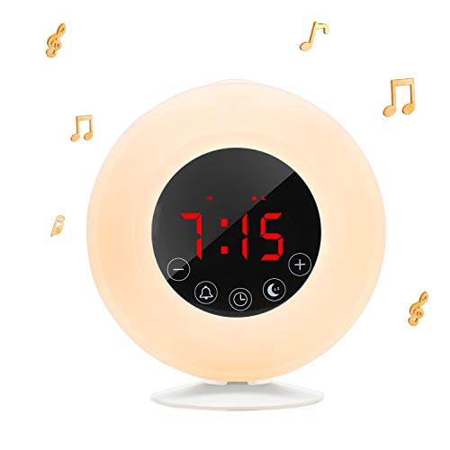 - Wake-Up Light Sunrise Alarm Clock Radio with Sunrise Sunset Simulation, Dual Alarm, 4.2 Bluetooth Speaker, 3 Natural Sounds, AM/FM Radio, Snooze Function and Bedside Lamp