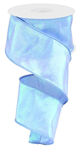 Metallic Wired Ribbon (Iridescent Dupioni Wired Edge Ribbon, 10 Yards (Baby Blue, 2.5