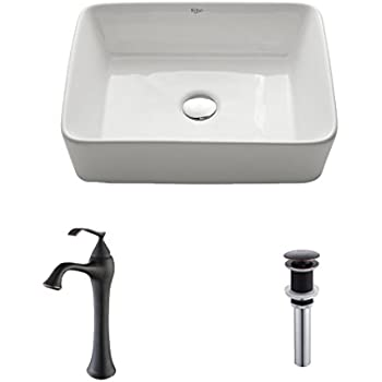 Kraus C-KCV-121-15000ORB White Rectangular Ceramic Sink and Ventus Faucet Oil Rubbed Bronze