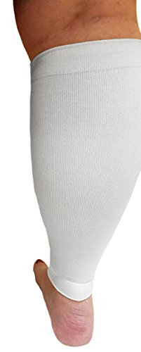 Compression Calf Sleeves Extra Wide - Soothing Gradient Support. XX-Wide Legs, Compression 18-20mmHg at Ankle and 14-16mmHg at Calves, Comfortable Tall Cuffs. Maximum stretch to 27 in. Unisex, white by Boston Enterprises (Image #3)