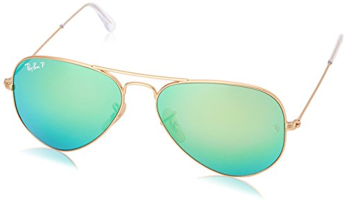 Metal Logo Aviator Sunglasses - Ray-Ban RB3025 Aviator Flash Mirrored Sunglasses, Matte Gold/Polarized Green Flash, 58 mm