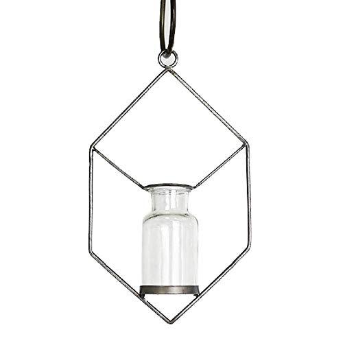 Modern Hanging Stem Jar Holder Metal Vase (8 Inch Diamond) ()