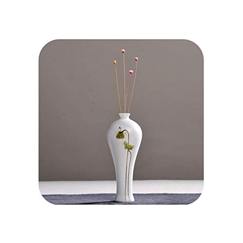 Fairy-Margot Ceramic Small vase Decoration Creative Hand-Painted Lotus White Porcelain vase Simple Flowe,c