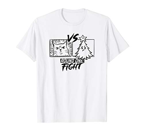 Cat versus Christmas Tree Gift for Cat Lovers T-Shirt (Cat Versus Christmas Tree)