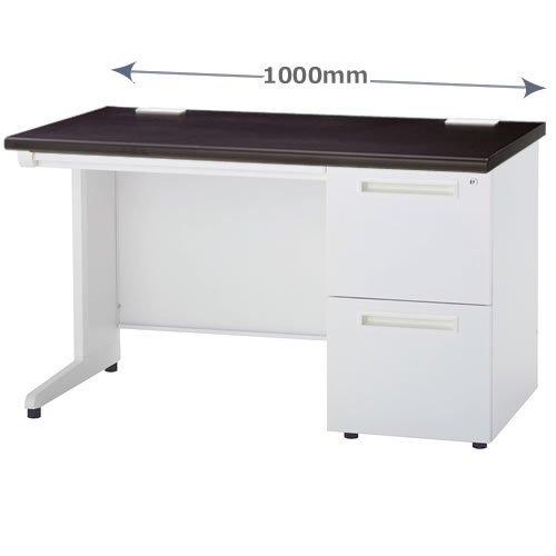 W1000×D700×H700mm オフィスデスク 片袖机 2段袖箱 天板:ダークブラウン INOK-NOD-107-2DB B01MZDWCI8