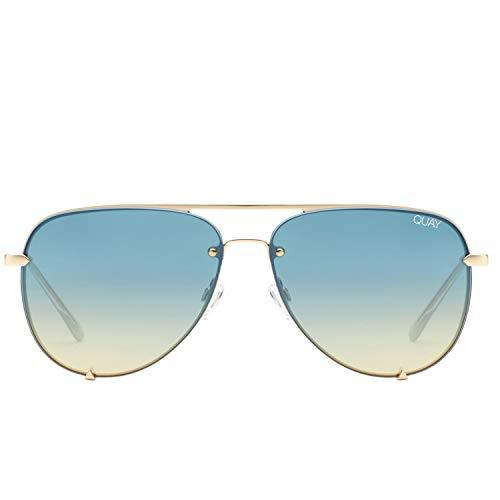 Quay Women's High Key Mini Rimless Sunglasses, Gold/Turquoise, One Size