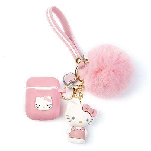 iFiLOVE Airpods Case, Cute Cartoon Cat Soft Silione Shockproof Protective with Doll Plush Ball and Wristband Case Cover Skin for Apple Airpods 1 & 2 Charging Case