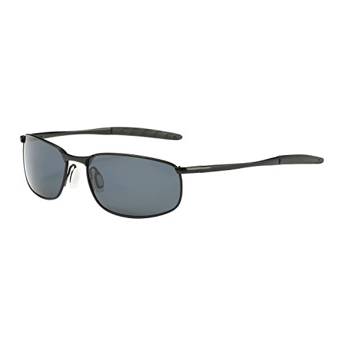 ZHILE 8-base Curve Wrap Metal Frame Polarized Sunglasses for Men (Black frame Grey Lens, ()