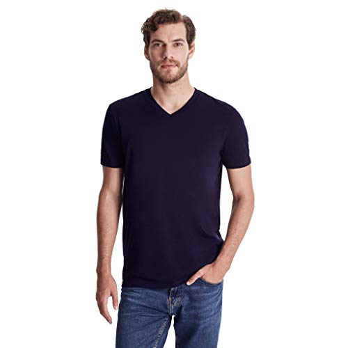 - TRUTH ALONE Men's V-Neck Tee, 100% Organic Peruvian Pima Cotton Navy