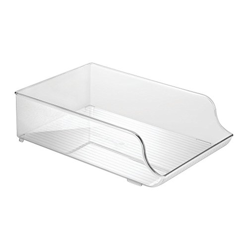 InterDesign Refrigerator and Freezer Storage Organizer Bin for Kitchen, Water Bottle Holder - Clear