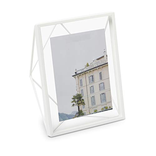 (Umbra Prisma Floating Wall or Desk Photo Display for Pictures, Art, Illustrations, Graphic Text & More 8 by 10-Inch White )