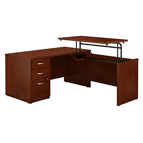 (Bush Business Furniture Series C Elite 60W x 30D 3 Position Sit to Stand L Shaped Desk with 3 Drawer File Cabinet in Hansen Cherry)
