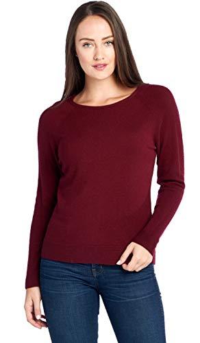 Mariyaab Women's 100% Cashmere Soft Long Sleeve Crew Neck Sweater (1731, Burgundy, S)