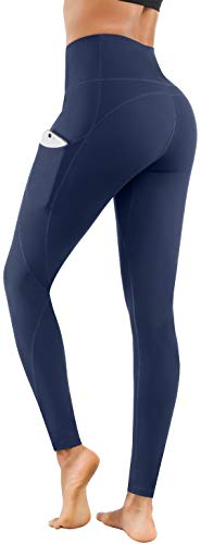 Lingswallow High Waist Yoga Pants - Yoga Pants with Pockets Tummy Control, 4 Ways Stretch Workout Running Yoga Leggings (Navy, Small)