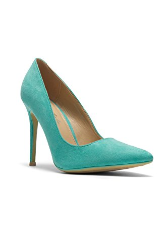 Herstyle Women's Marneena Suede Heel With ligghtly Pointed Toe Teal 10