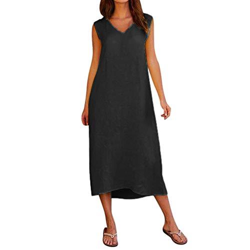 Women Cotton Linen Casual Long Maxi Beach Dress Summer Sleeveless V Neck Dress
