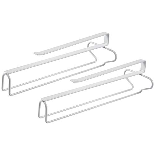 Juvale Glass Holder - 2-Pack Wine Glass Rack, Under-Cabinet Stemware Rack Organizer, Hanging Wine Glasses Storage, White Iron Wire, 12.1 x 4 x 3.1 Inches (Undercabinet Wine Glass Holder)