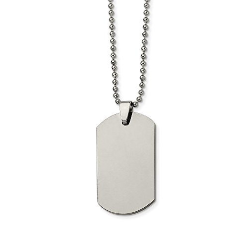 - ICE CARATS Tungsten Dog Tag 22 Inch Chain Necklace Man Pendant Charm Dogtag Fashion Jewelry Gift for Dad Mens for Him